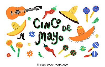 Cinco de mayo design elements set. Fifth of the May on Spanish lettering, Mexican sombrero, maracas, chili, guitar etc