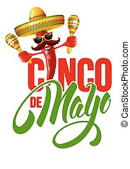 Cinco de Mayo emblem design with hand drawn calligraphy...
