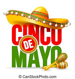 Cinco de Mayo emblem design with lettering, sombrero and...