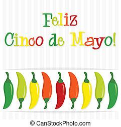 """""""Feliz Cinco de Mayo"""" (Happy 5th of May) chilli card in vector format."""