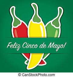 """""""Feliz Cinco de Mayo"""" (Happy 5th of May) paper cut out card in vector format."""