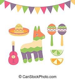 Cinco de Mayo festival in Mexico icon set. Set of traditional ethnic symbols for Mexican parade with maracas, pinata, fruits, sombrero and guitar.