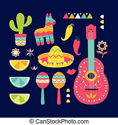 Cinco de Mayo festival in Mexico icon set. Set of traditional ethnic symbols for Mexican parade with maracas, pinata, fruits, sombrero, guitar, cactus flower
