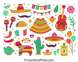Cinco de mayo. Guitar party, isolated mexican fiesta decoration. Sombrero cactus, latin birthday fest elements, spanish pinata vector set