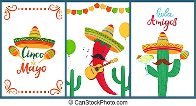Cinco de Mayo. Hola Amigos. Hand drawn lettering. A set of festive posters to the Mexican national holiday. Funny chili pepper plays on the guitar. Cartoon cactus in sombrero holds maracas