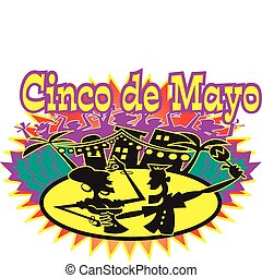 Cinco de Mayo holiday party celebration with a Mexican or Hispanic couple dancing on the street in a town or small village.
