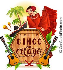 Cinco de Mayo lettering text and woman