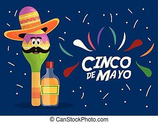 cinco de mayo maraca character with tequila bottle - cinco ...