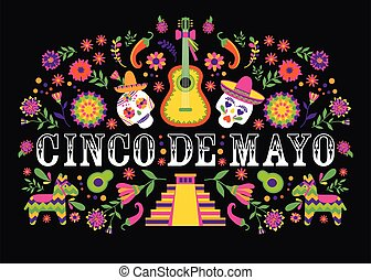 Cinco de Mayo-May 5th-typography banner vector. Mexico design for fiesta cards or party invitation, poster. Flowers traditional mexican frame with floral letters on black background.