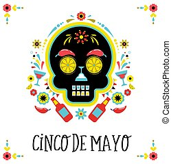 Cinco de Mayo, Mexican fiesta, holiday poster, party flyer, greeting card
