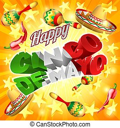 Cinco De Mayo Mexican Holiday Stars Background