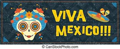 Cinco de mayo mexican sugar skull web banner art