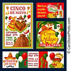 Cinco de Mayo Mexican vector fiesta invitations