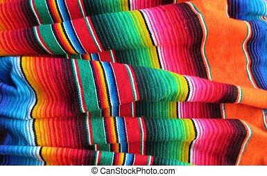 cinco de mayo, mexicano, fiesta, manta, serape, plano de...