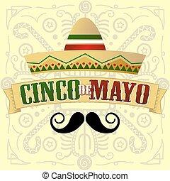 Cinco de Mayo Moustache Vector Illustration