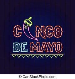 Cinco de mayo neon banner