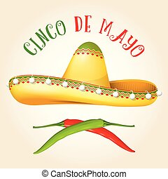 Cinco de Mayo poster with sombrero and hot pepper