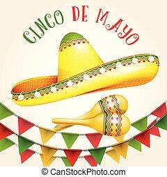 Cinco de Mayo poster with sombrero and maracas