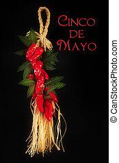 Cinco de Mayo Red Peppers - Cinco de Mayo text on black...