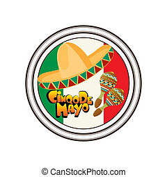 The Day of the Battle of Puebla, Cinco de Mayo, celebration stamp over white background