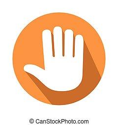 cinco, dedos, gesto