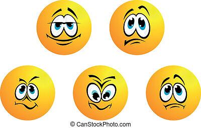 cinco, diferente, sonrisas, expresiones