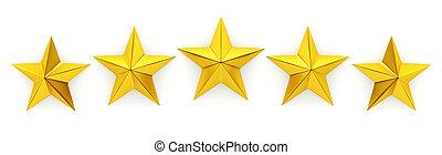 cinco, dourado, estrelas, -, 3d, fazendo