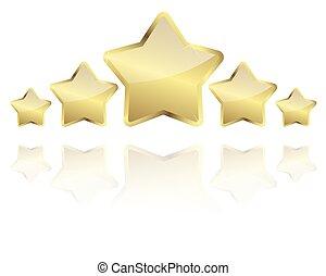 cinco, dourado, estrelas, com, reflexão, uma fileira