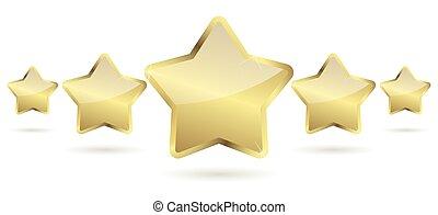 cinco, dourado, estrelas, com, sombra, uma fileira
