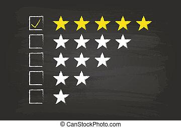 cinco, estrela, lista de verificação