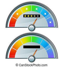 cinco, estrela, medida, avaliação