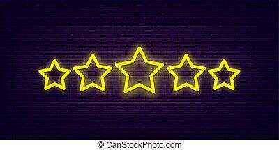 cinco, estrela, néon, avaliação