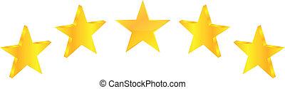 cinco, estrela, prêmio, qualidade