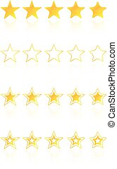 cinco, estrela, qualidade, distinção, ícones