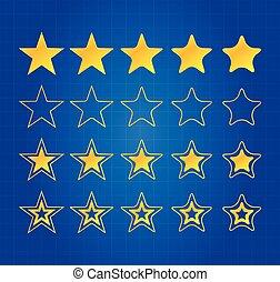 cinco, estrela, qualidade, distinção