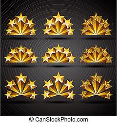 cinco, estrelas, clássicas, estilo, ícones, set.