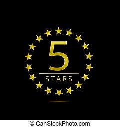 cinco, estrelas, etiqueta