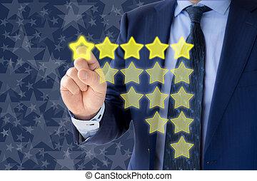 cinco, estrella, clasificación, evaluación, de, un, hombre de negocios