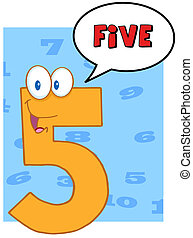 cinco, fala, número, bolha
