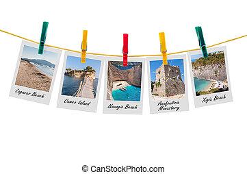 cinco, fotos, de, zakynthos, en, clothesline