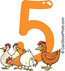 cinco, gallinas, 5, número