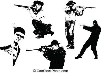 cinco, homens, silhuetas, com, gun., ve