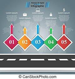 cinco, infographic., items., negócio, estrada