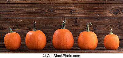 cinco, laranja, abóboras