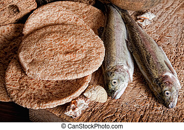 cinco, loaves pão, e, dois, peixe