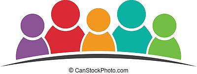 cinco, logotipo, amigos, pessoas