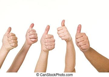 cinco, mãos, fazendo, polegares cima