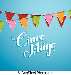 cinco, mayo, de, illustration.