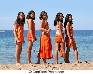 cinco, meninas, praia
