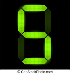 cinco, número, digital